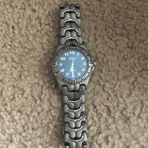 Men's rare fossil blue waterproof titanium watch